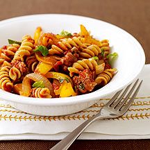 Sausage and Peppers Pasta!  One of my faves...and who knew it was Weight Watchers too!  Yum!  :)