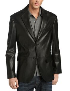 Smart Looking Vintage made from Soft Lambskin Two Button Style Leather Blazer for Dashing Looking Men. Mens Leather Blazer, Womens Black Leather Jacket, Leather Men, Real Leather, Lambskin Leather, Casual Blazer, Casual Shirts, Revival Clothing, Black Blazers