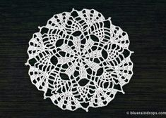 Lace Round Doily - free crochet pattern by Blueraindrops Crochet Doily Rug, Crochet Snowflakes, Crochet Round, Thread Crochet, Easy Crochet, Single Crochet, Crochet Hooks, Free Crochet, Crochet Stitches