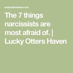 The 7 things narcissists are most afraid of.   Lucky Otters Haven