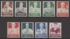 German Professions Stamps (Welfare Fund),1934. The professionals depicted a clerk, blacksmith, bricklayer, miner, architect, farmer, scientist, sculptor and a judge.
