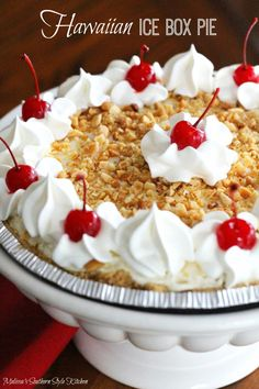 Hawaiian Ice Box Pie - can be made with Toffuti and coconut milk instead of dairy