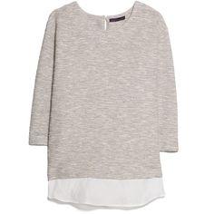Shirt Hem Sweatshirt ($35) ❤ liked on Polyvore featuring tops, hoodies, sweatshirts, sweaters, shirts, three quarter sleeve tops, sweatshirts hoodies, three quarter sleeve shirts, sweat tops and shirts & tops