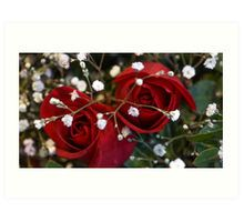 Red Roses with White Art Print