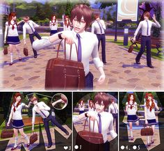 Morning of School life Pose 03 at A-luckyday via Sims 4 Updates