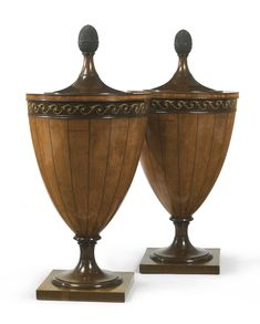 A pair of George III grisaille-painted inlaid satinwood and mahogany urns circa 1795  Sotheby's