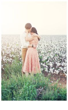 Feminine, simple dress with light color on her. Neutral, simple pieces on him. Engagement Photo Inspiration, Engagement Pictures, Couple Photography, Engagement Photography, Image Emotion, Marry Your Best Friend, Cotton Fields, Fall Pictures, Beautiful Love