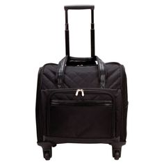 This is a business traveler's favorite laptop spinner with a roomy interior and padded computer compartment for a 15 inch laptop. The black qulited microfiber construction offers a simulated leather t