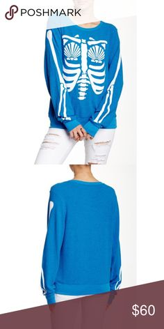 Wildfox Mermaid X-Ray Skeleton Pullover Jumper Brand new WITHOUT tags, women's size Medium. This Wildfox Mermaid X-Ray Skeleton Pullover Baggy Beach Jumper is adorable! Comes in a gorgeous shade of Cobalt Sea blue contrasted by white mermaid x-ray detailing. Boatneck. Long Sleeves. If you own Wildfox items, you know how soft and cozy they are, and this one is no exception! Made of 47% Polyester, 47% Rayon and 6% Spandex. This style has been discontinued, your chance to grab it here! Wildfox…