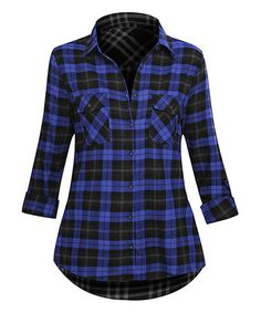 Loving this Royal Plaid Double-Pocket Button-Up Top on #zulily! #zulilyfinds