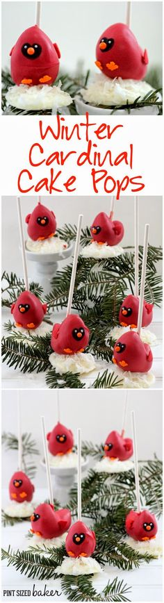 These Cardinal Cake Pops are the CUTEST!! Perfect for my winter party table!