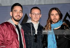 Musicians Mike Shinoda and Chester Bennington of Linkin Park and Jared Leto of Thirty Seconds to Mars appear onstage at a press conference to announce their new tour at Milk Studios on March 4, 2014 in Los Angeles, California.