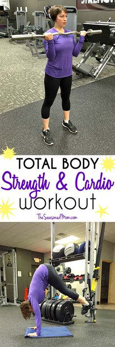 Challenge your muscles and get your heart rate up with this efficient Total Body Strength and Cardio Workout! This exercise routine is a great way to get in and out of the gym in about 30 minutes...and it will have you sweating in no time!