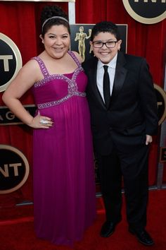 LOS ANGELES, CA - JANUARY Actor Rico Rodriguez (R) and actor/singer Raini Rodriguez arrive at the Annual Screen Actors Guild Awards held at The Shrine Auditorium on January 2013 in Los Angeles, California. (Photo by Kevork Djansezian/Getty Images) Raini Rodriguez, Disney Channel Stars, Laura Marano, Austin And Ally, Sag Awards, Ross Lynch, Celebrity Dads, Celebs, Celebrities