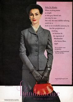 Anne Gunning wearing Handmacher 1954 grey suit 50s vintage fashion style color photo print ad wasp pencil handbag hat