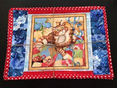 Playful Kitties Placemats Set of 6, Quilted, reversible with Red backing and white polka dots, Handmade