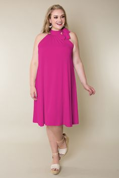 Plus Size Dress Halter Tie Neck Dress in Jersey | Custom Plus Size and Petite Clothing: Dresses, Shapewear, Palazzo Pants | AbbeyPost