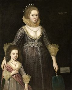 Christian(a) (nee Bruce). Countess of Devonshire, 27, wife of Wm. Cavendish,2nd Earl, with her 5-yr-old daughter Anne (later Lady Rich) & pregnant with her son Charles, who died fighting on the Royalist side. 1619 By Paul von Somers (Lady Rich's son Robert,however, married a daughter of Oliver Cromwell.)