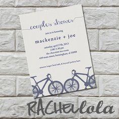 Couples wedding shower invitation Printable DIY blue modern bicycle