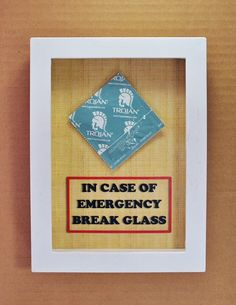 "In Case of Emergency Break Glass - Condom Gift - Sex Lover Gift, Gift for Him, Gag Gift, Gift for Husband, Men, Gift for Boyfriend Valentine. ✿ The shadow box contains a real condom (Random Color/Brand) and a ""In case of Emergency Break Glass"" sign printed on the background. ✿ Box Dimension: 5"" x 7"" (Inside) 6"" x 8"" (Outside). The box has a depth of 0.75"". ✿ Tracking number will be provided once the order is shipped. ✿ Make sure to check other Emergency Cases and find the one that's right..."