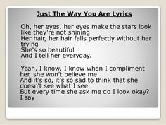 Image result for just the way you are lyrics