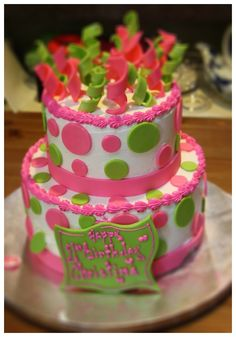 Pink and green Polka dot party with owl accents