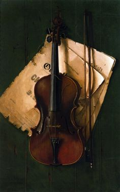 Still Life with Violin Bow and Sheet Music