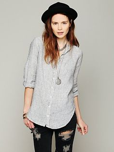 CP Shades Stripe Button Down Tunic at Free People Clothing Boutique