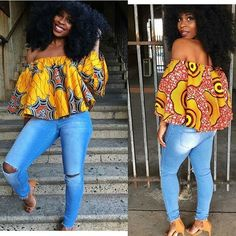 Love this Ankara flowy top ~African fashion, Ankara, kitenge, African Nigerian style, Ghanaian fashion ~DKK African Inspired Fashion, African Print Fashion, Africa Fashion, Fashion Prints, Ankara Tops, Styles Ankara, Ankara Blouse, Ankara Dress, African Dresses For Women