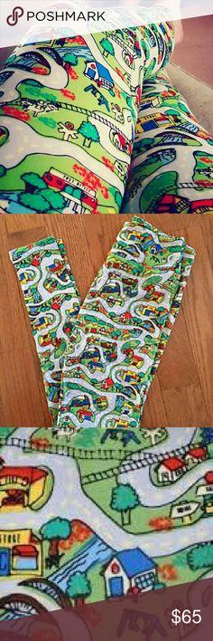 Lularoe Road leggings OS one size- ?? Unicorn! ?? NWT Lularoe Road map leggings in one size. Hard to find! I am not a consultant. LuLaRoe Pants Leggings