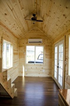 I'm excited to show you this spacious tiny house on wheels by Tiny Idahomes. Tiny Idahomes LLC is a tiny house builder in Nampa, Idaho. They build custom tiny homes for their clients and so f… Tiny House Stairs, Tiny House Cabin, Tiny House Living, Tiny House Plans, Tiny House On Wheels, Tiny Houses For Sale, Little Houses, Tiny House Builders, Tiny House Swoon
