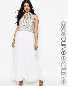 Vestido largo con top corto adornado de efecto espejo de ASOS CURVE