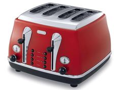With a vintage-inspired look, the De'Longhi Icona Elements Toaster is a classy and functional addition to any kitchen. Boasting handy Electronic controls, this toaster from DeLonghi allows you to cook what you want, how you want it. Red 4 Slice Toaster, Red Kitchen, Small Kitchen Appliances, Home Appliances, Kitchen Ideas, Kitchen Things, Kitchen Inspiration, Kitchen Tools, Restaurant