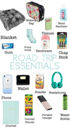 What to bring with you on your next road trip! The ultimate road trip packing list for a fantastic experience. Don't forget any of these road trip essentials so you can focus on having an epic time! Travel Packing Checklist, Travel Bag Essentials, Road Trip Essentials, Road Trip Hacks, Travelling Tips, Road Trip Checklist, Packing Lists, Vacation Packing, Airplane Essentials