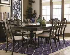 Any Bassett dining table will look great with subtle touches of blue and green!