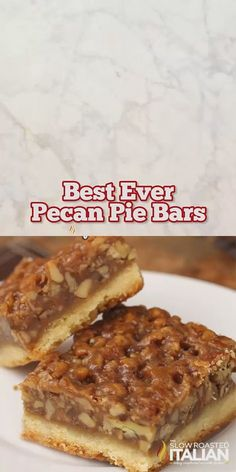 Mar 2019 - Best Ever Pecan Pie Bars are so good people offer to pay me for them. A fabulous recipe with a caramelized pecan pie set atop a shortbread crust is the absolute perfect nut bar. My family requests more of this dessert than any other every year. Dessert Dips, Best Dessert Recipes, Pie Recipes, Sweet Recipes, Holiday Recipes, Dessert Food, Quick Dessert, Easy Recipes, Recipes Dinner