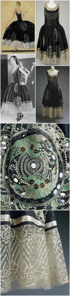 """Evening dress """"Veilleur de Nuit,"""" by Jeanne Lanvin, c. 1924. Taffeta, Lace, Pearls, Beads, Sequins, Mirror Discs. Photos (clockwise from top left): Illustration from 1923, © Patrimoine Lanvin, courtesy of LANVIN Paris on Pinterest; De Young Museum's version of the dress; a second version, from the Metropolitan Museum of Art, along with two detail shots of the skirt and a black-and-white installation shot."""