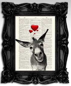 "Loving Donkey - Original artwork mixed media print 8""x11"", print on an antique french dictionary page - Vintage art print"
