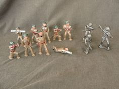 9 Vintage Barclay Manoil Lead Toy Soldier Bazooka Pod Feet #Manoil