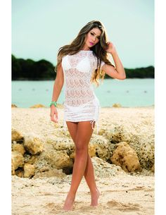 0d759682bdb63 Woven Lace Cover-up   Beach Dress - White Bathing Suit Covers