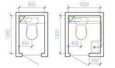 Минимальный размер туалетной кабины 80х120см, причем для комфортного использования центр унитаза должен быть не ближе чем на 40см от стены.