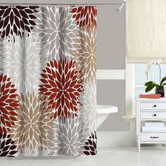 Chrysanthemum Shower Curtain  Floral Brown Red Taupe Gray Bathroom Decor Bath By Blue Pink