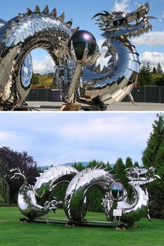 Artist Kevin Stone specializes in creating gigantic fantasy art made from stainless steel Fantasy Dragon, Dragon Art, Fantasy Art, Magical Creatures, Fantasy Creatures, Dragons, Land Art, Sculpture Art, Stone Sculptures