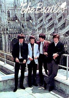 George Harrison, Richard Starkey, Paul McCartney, and John Lennon in Milan