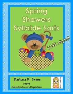 Spring Showers Syllable Sort is a literacy center for primary grades. Students sort word/picture cards by the number of syllables. CCSS aligned. $ #CCSS #literacycenters #syllables #BarbEvans #itsabouttimeteachers