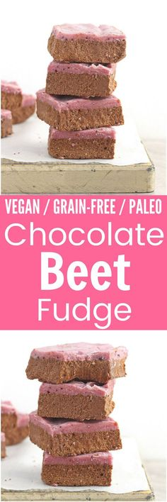 Vegan Chocolate Beet Fudge - Rich, creamy and secretly healthy, this Vegan Chocolate Beet Fudge is the perfect no-bake treat to curb that sweet tooth! Healthy Vegan Desserts, Paleo Treats, Vegan Dessert Recipes, No Bake Treats, Candy Recipes, Just Desserts, Snack Recipes, Paleo Recipes, Free Recipes