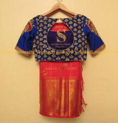 Beautiful designer saree and blue color designer blouse with hand embroidery gold thread work. Silk Saree Blouse Designs, Bridal Blouse Designs, Drape Sarees, Silk Sarees, Trendy Sarees, Stylish Blouse Design, Designer Blouse Patterns, Work Blouse, Blouse Styles