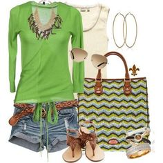 casual summer outfit, green + denim + brown