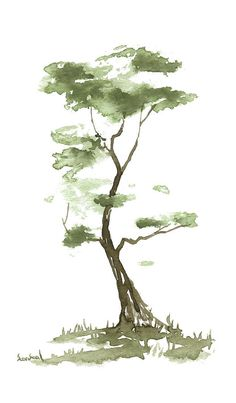 Little Tree Painting - Little Zen Tree 204 by Sean Seal