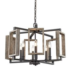 home decorators collection 6 light aged bronze pendant with wood accents - Home Decorators Collection Lighting